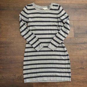Banana Republic Grey Striped Sweater Dress